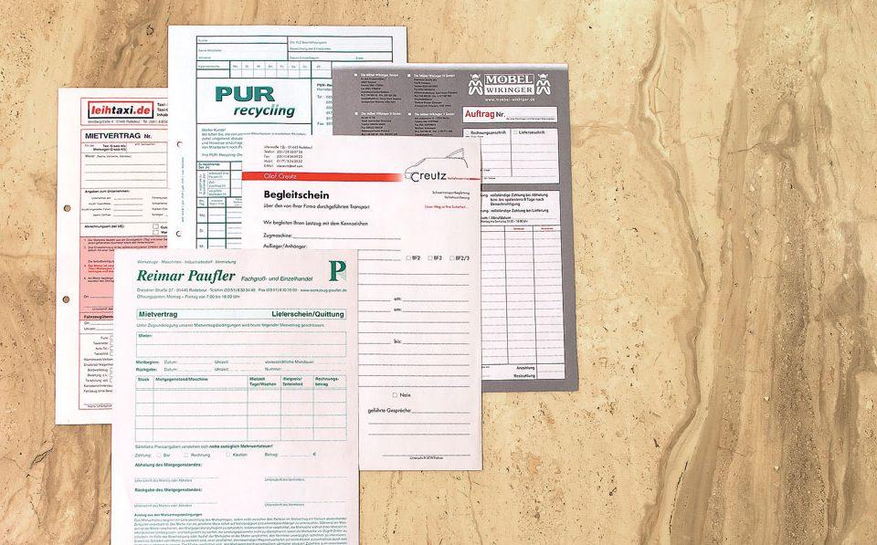 Als Arbeitsnachweise, Aufnahmeanträge, Wochenberichte, Retourenbeläge oder zur Bestandserfassung von Waren – vorgedruckte Formulare können Ihnen die Arbeit erleichtern.Als Arbeitsnachweise, Aufnahmeanträge, Wochenberichte, Retourenbeläge oder zur Bestandserfassung von Waren – vorgedruckte Formulare können Ihnen die Arbeit erleichtern.
