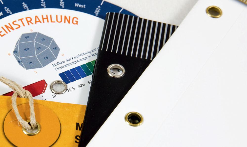 Drehbare Verbindungen für Anhänger und Etiketten oder für robustere und widerstandsfähigere Unterlagen und ein professionelles Erscheinungsbild.