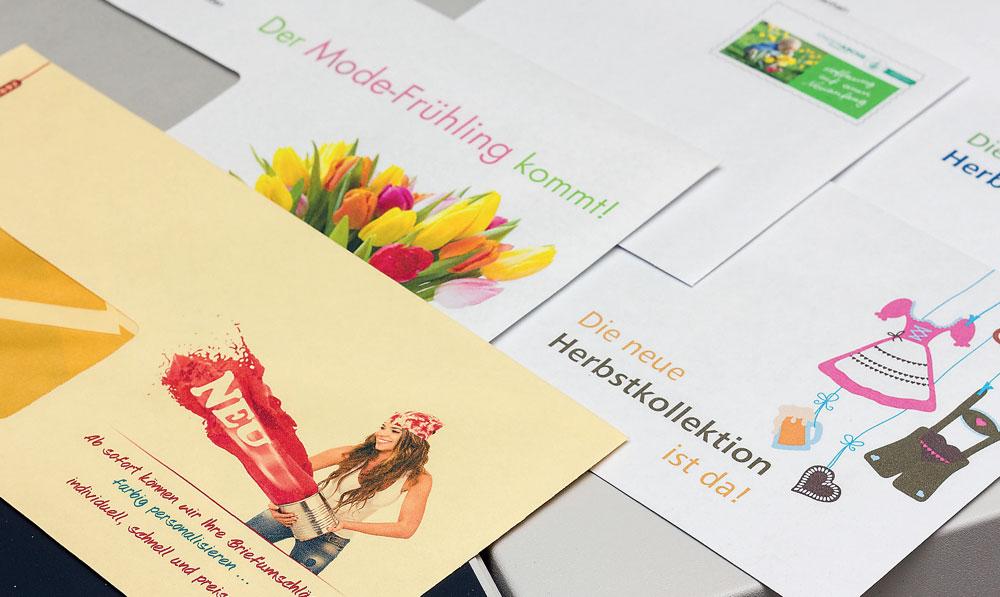 Briefumschläge bedruckt mit dem eigenen Logo, Slogan, lustigen Sprüchen oder einem neutralen Aufdruck, machen den Empfänger neugierig auf den Inhalt und ergeben mit dem passenden Briefbogen ein einheitliches Erscheinungsbild.